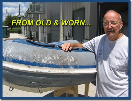 inland marine inflatable boat repair old and worn